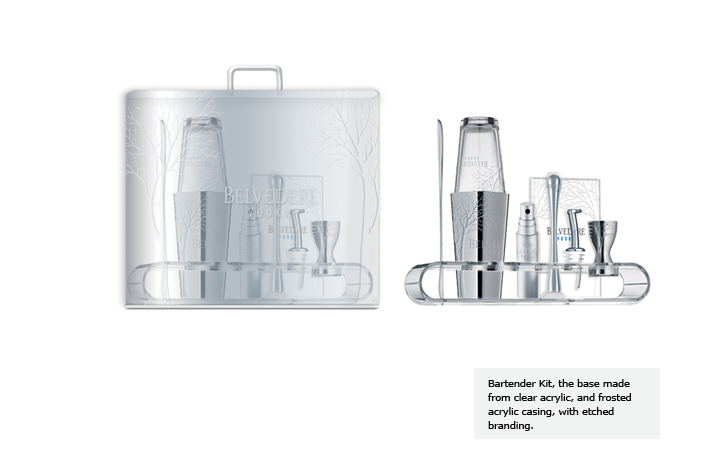 Bartender Kit, the base made from clear acrylic, and frosted acrylic casing, with etched branding.