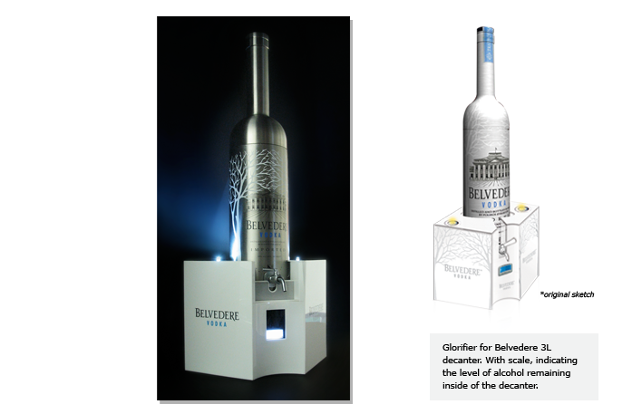 Glorifier for Belvedere 3L decanter. With scale, indicating the level of alcohol remaining inside of the decanter.