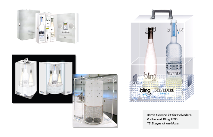 Bottle Service kit for Belvedere Vodka and Bling H2O. *3 Stages of revisions.