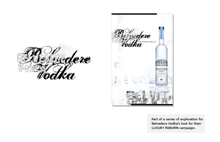 Part of a series of exploration for Belvedere Vodka's look for their LUXURY REBORN campaign.