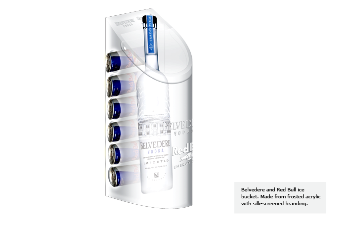 Belvedere and Red Bull ice bucket. Made from frosted acrylic with silk-screened branding.