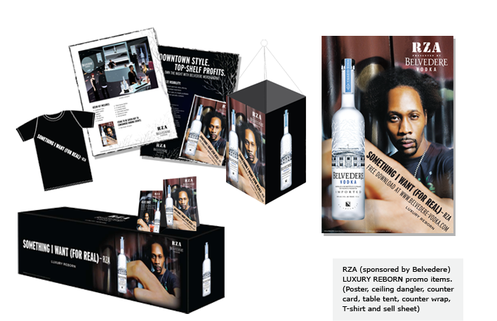 RZA (sponsored by Belvedere) LUXURY REBORN promo items.(Poster, ceiling dangler, counter card, table tent, counter wrap, T-shirt and sell sheet)