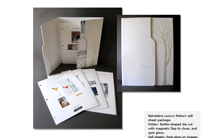 Belvedere Luxury Reborn sell sheet package. Folder: Bottle-shaped die cut with magnetic flap to close, and spot gloss. Sell sheets: Spot gloss on images.
