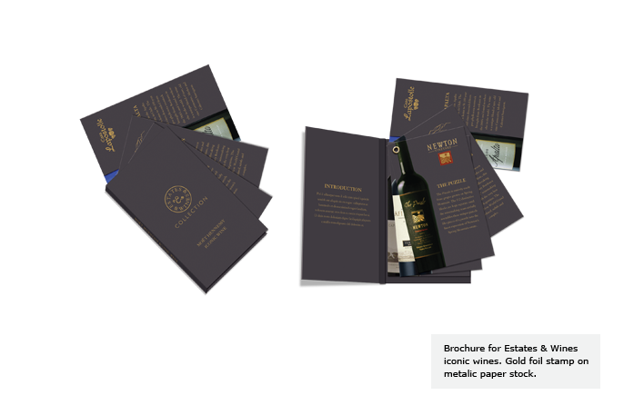 Brochure for Estates & Wines iconic wines. Gold foil stamp on metalic paper stock.