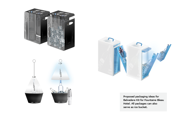 Proposed packaging ideas for Belvedere Kit for Fountaine Bleau Hotel. All packages can also serve as ice bucket.