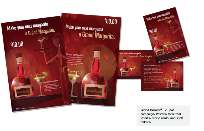 Grand Marnier® TV Spot campaign. Posters, table tent inserts, recipe cards, and shelf talkers.