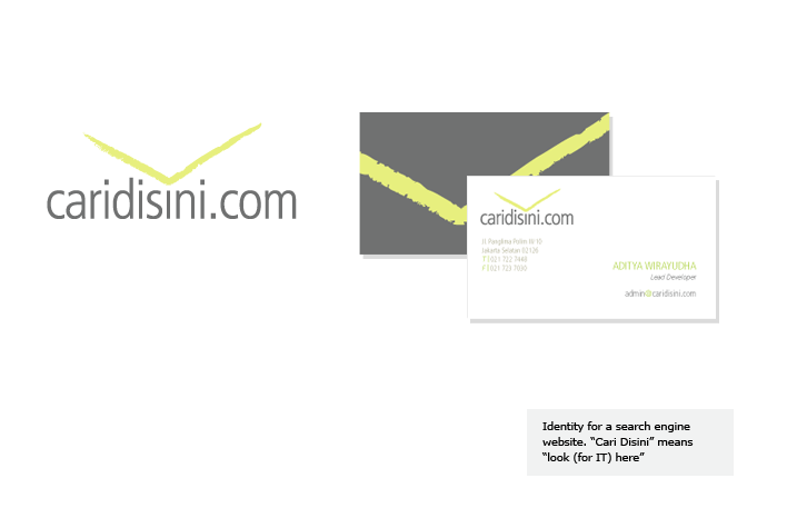 "Identity for a search engine website. ""Cari Disini"" means ""look (for IT) here"""