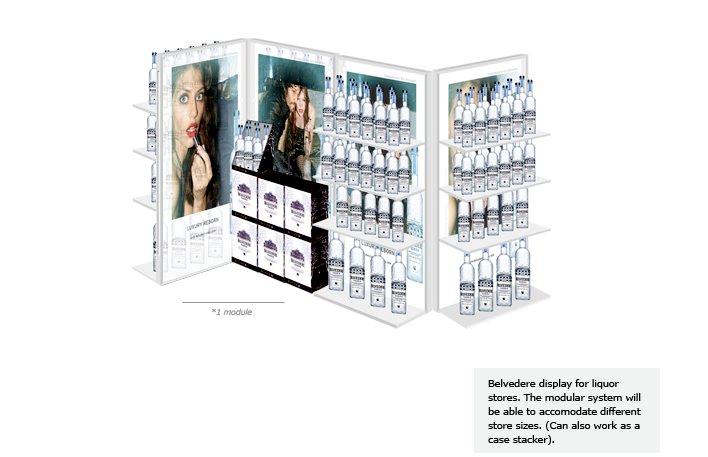 Belvedere display for liquor stores. The modular system will be able to accomodate different store sizes. (Can also work as a case stacker).