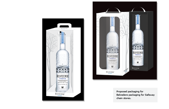 Proposed packaging for Belvedere packaging for Safeway chain stores.