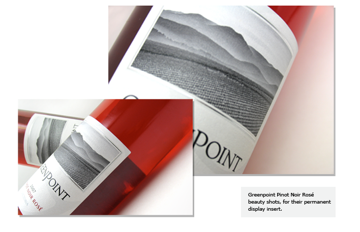 Greenpoint Pinot Noir Rosé  beauty shots, for their permanent display insert.