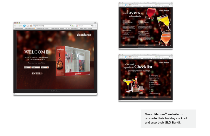 Grand Marnier® website to promote their holiday cocktail and also their SLO Barkit.